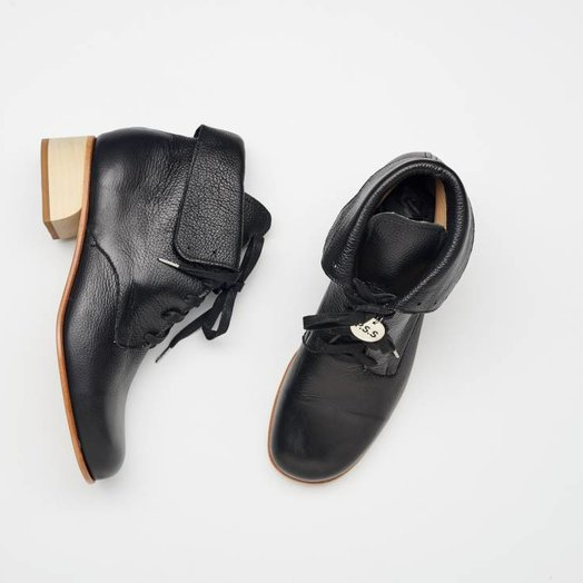 Post Sole Studio Cricket Boots in  Black Napoli Leather