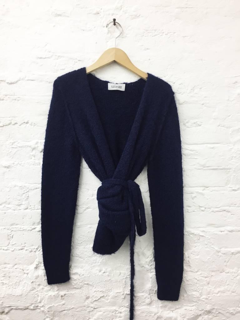A Détacher Tiara Wrap Sweater, Navy