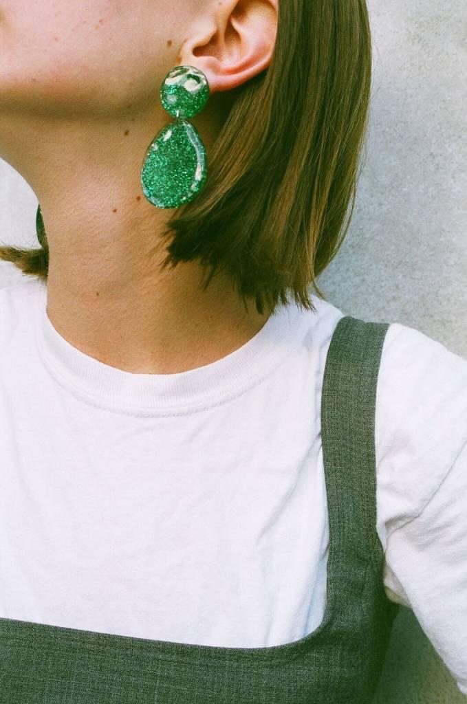 MARS Glitter Double Drop, Green Glitter
