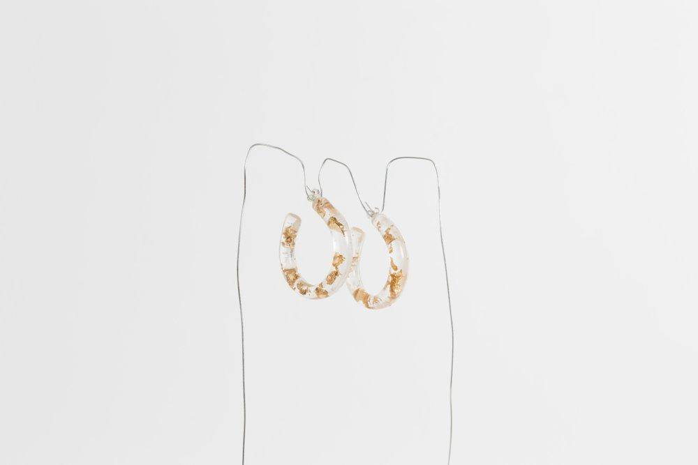 MARS Mini Lunar Hoops, Gold Foil