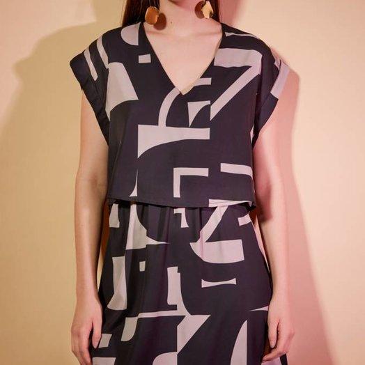 Eve Gravel After Midnight Dress, Shatter print