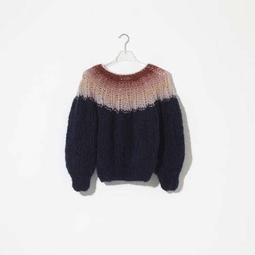 Maiami Mohair Pleated Sweater, Gradient Variation 1