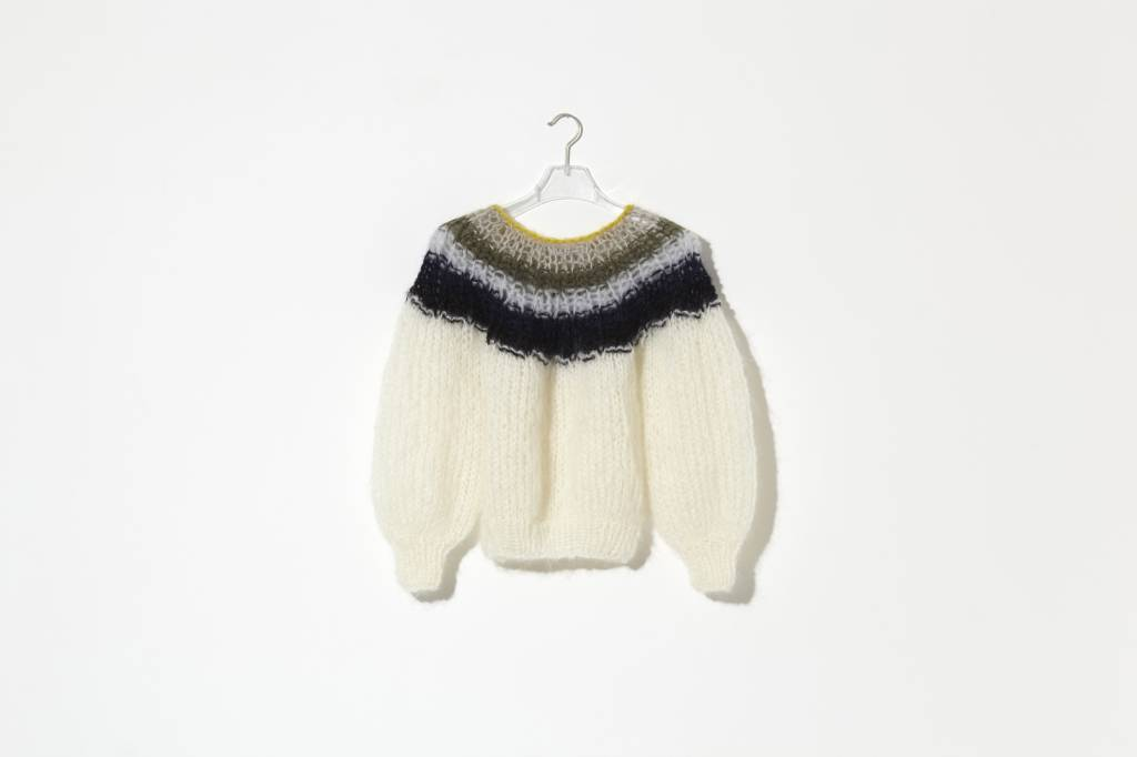 Maiami Mohair Pleated Sweater, Gradient Variation 2