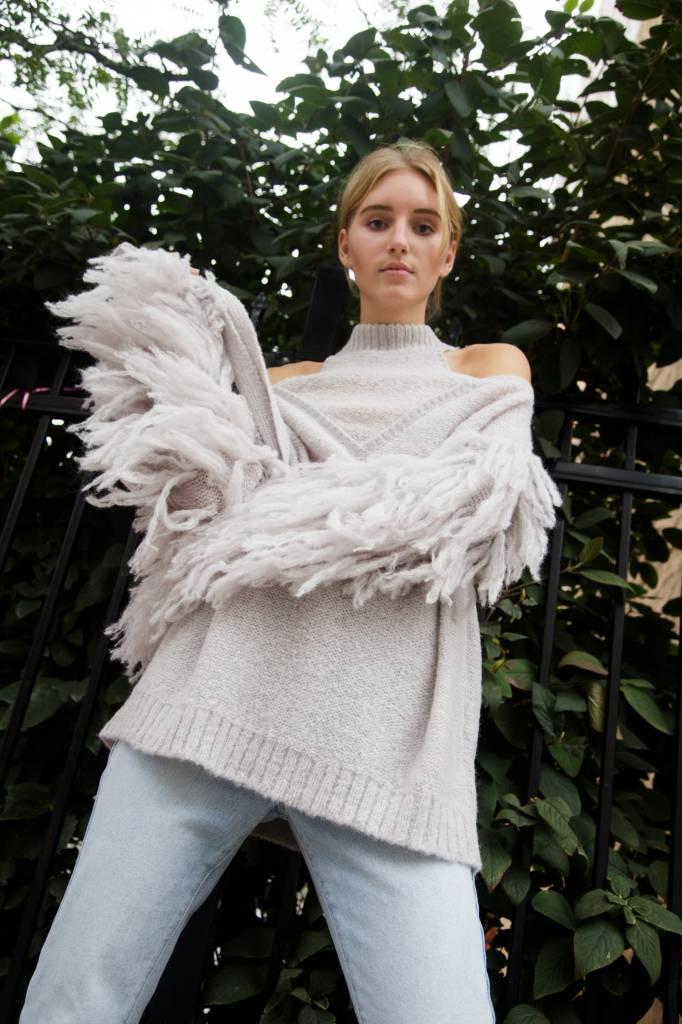 Laura Siegel Knit Fur Cut Out Longsleeve Tunic