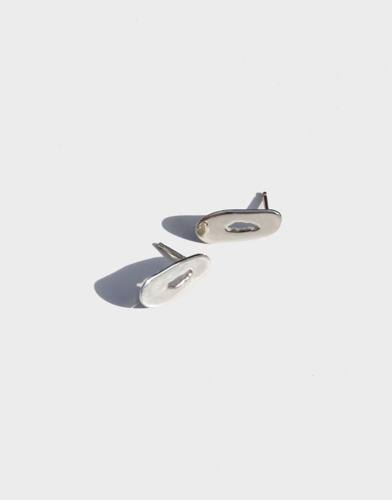 Modern Weaving Oblong Oval Stud Earrings, Sterling Silver
