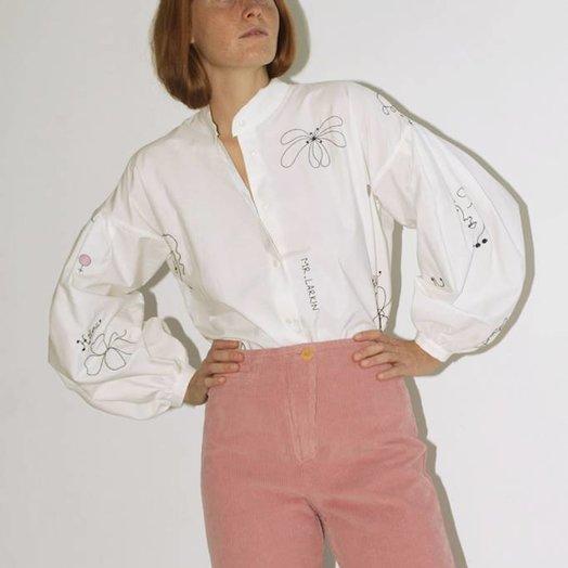 Mr Larkin Poppy Shirt, Hilma Embroidery