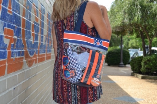 AU Stadium Tote with Band at Top and Zipper