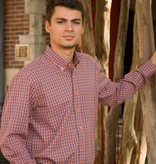 Orange and Navy Check Button Down