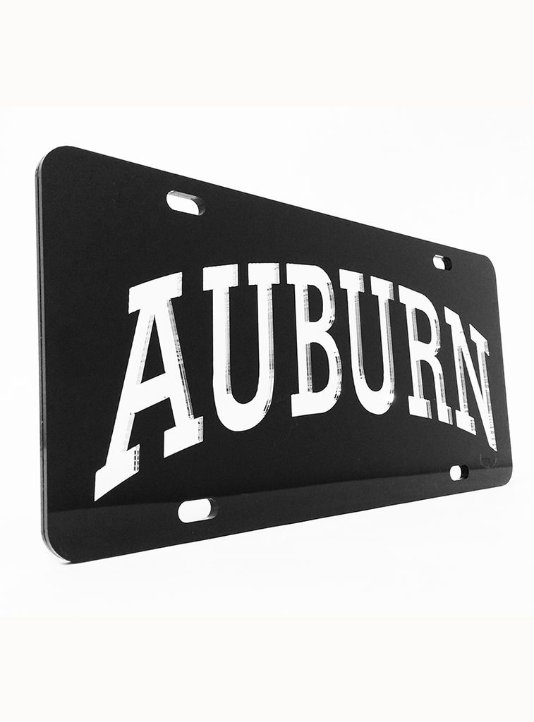 Arch Auburn Black and Silver Mirror Car Tag