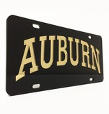 Arch Auburn Black and Gold Mirror Car Tag