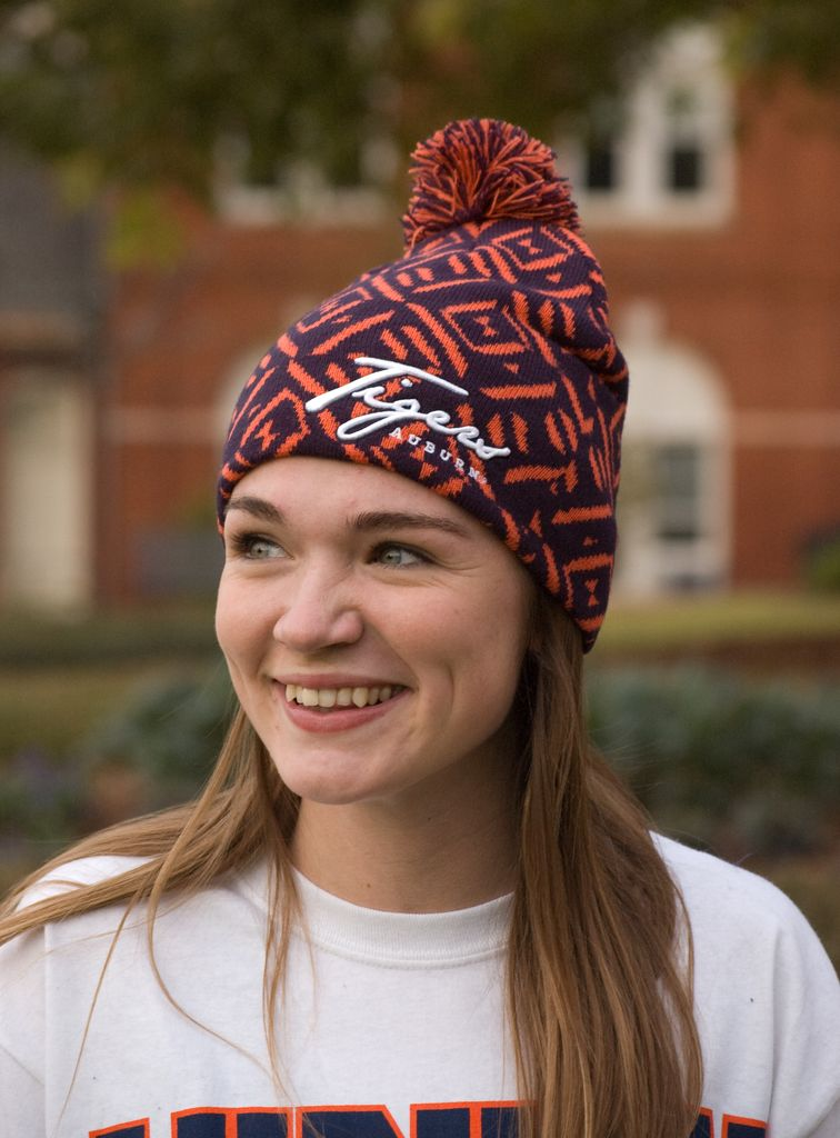 The Game Tigers Patterned Beanie with Pom