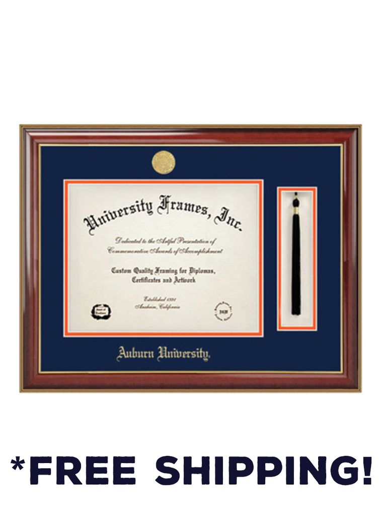 Diploma Frame A - Tassel Classic Mahogany Gold Frame Gold Medallion ...