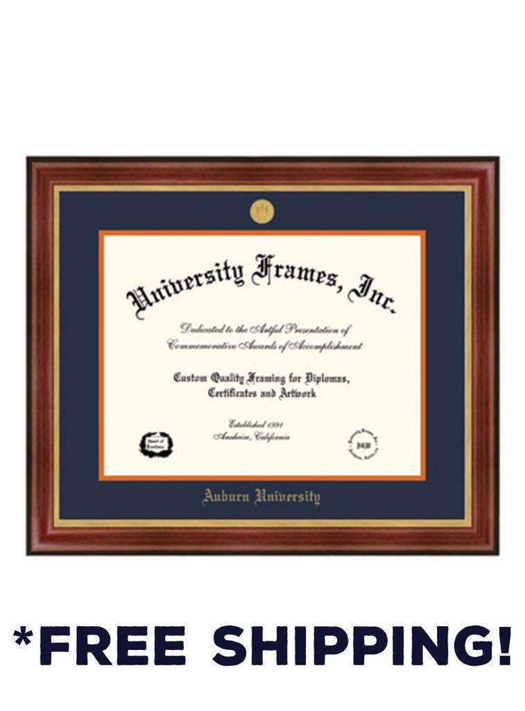 Diploma Frame D - Davinci Mahogany Frame Gold Medallion