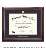 Diploma Frame E- Satin Mahogany Frame Silver Medallion