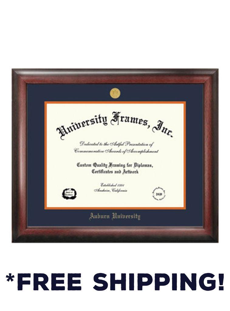 Diploma Frame F- Satin Mahogany Frame Gold Medallion - J&M Bookstore