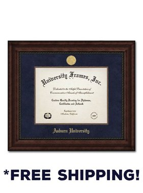 Diploma Frame I- Executive Mahogany Navy Suede Gold Medallion