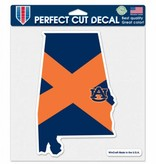 State Outline with State Flag in Orange and Navy 8x8 Decal