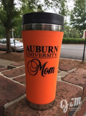 Auburn Univeristy Mom Stainless Steel Travel Mug, Orange, 16 oz