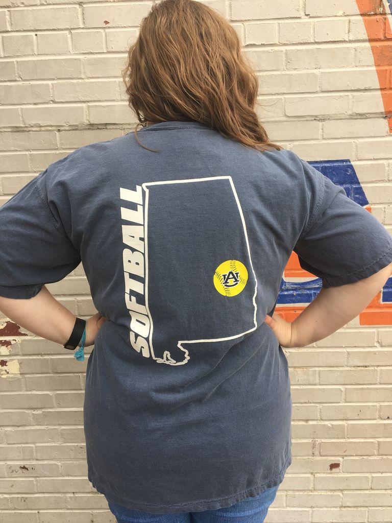 MV Sport State Outline Softball on Back Bar Pocket Design T-Shirt