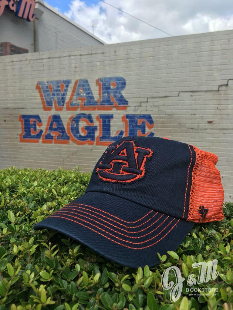 47 Brand AU Distressed Stitched Two Tone Mesh Hat, Navy/Orange