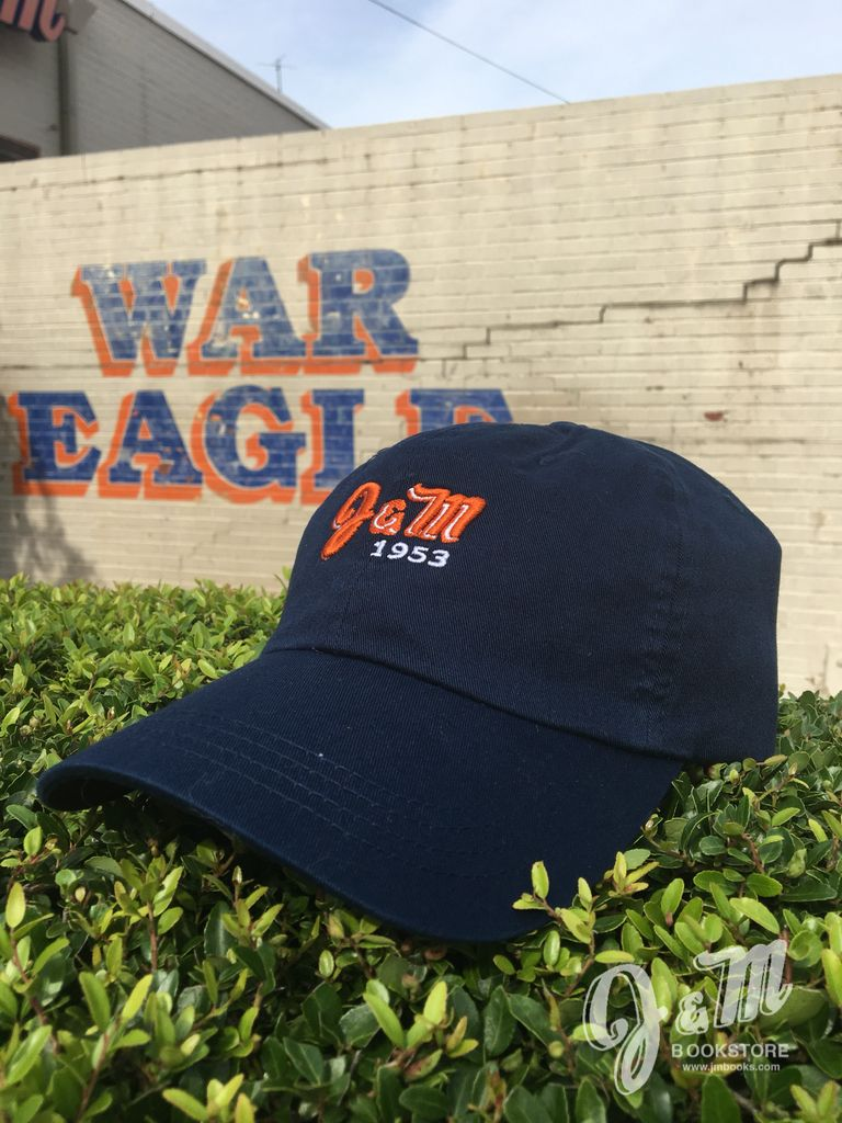 J&M Washed Twill Solid Navy Strap Back Hat