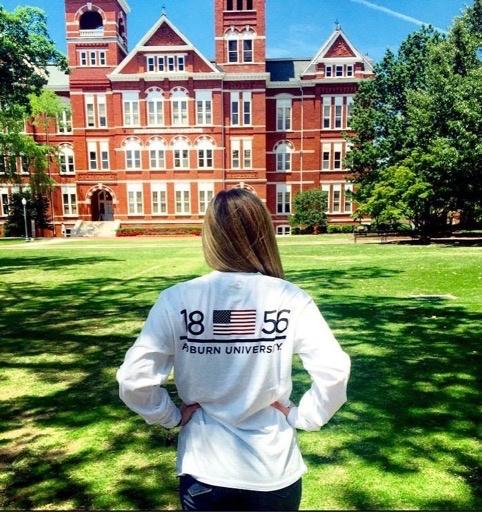 League Auburn University 1856 Flag on Back and AU Pocket long sleeve t-shirt