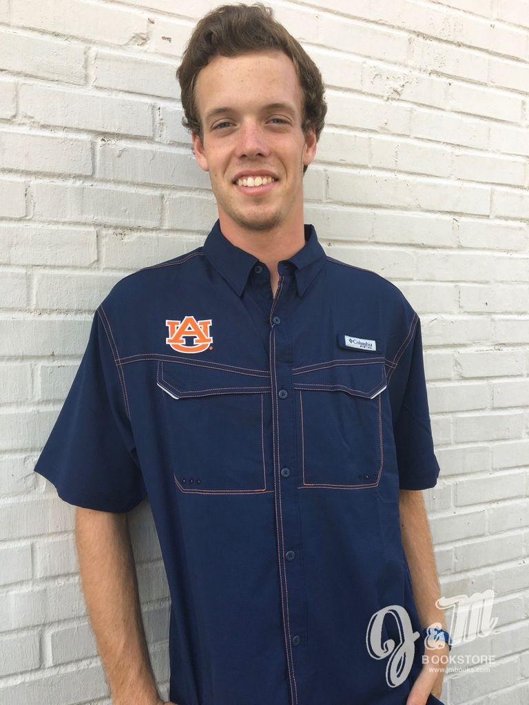 AU Short Sleeve Button Down with Orange Stitching