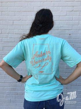 Tigerwear State Outline Script Auburn University T-Shirt