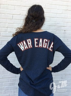 47 Brand War Eagle on Back AU on Front Long Sleeve Ladies T-Shirt