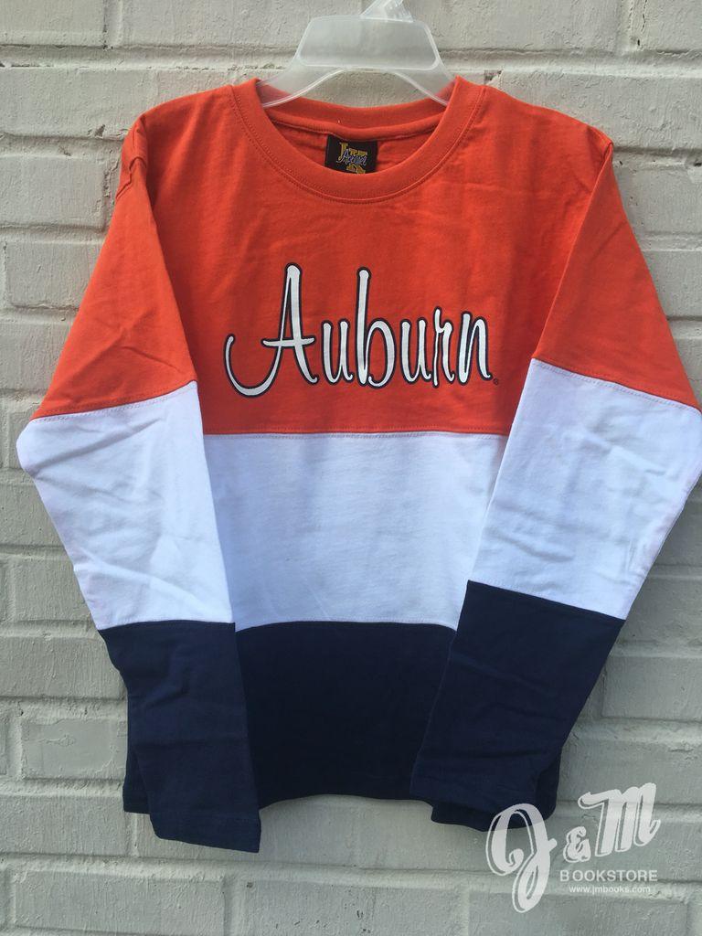 Script Auburn Tri Color Youth Long Sleeve T-Shirt