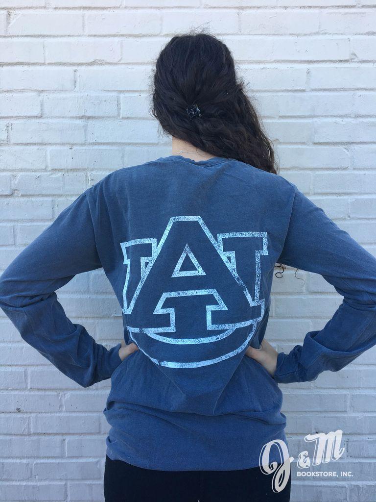 MV Sport Big AU on Back Auburn Bar on Front Pocket Long Sleeve T-Shirt