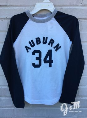 League Arch Auburn 34 Two Tone Youth Baseball T-Shirt