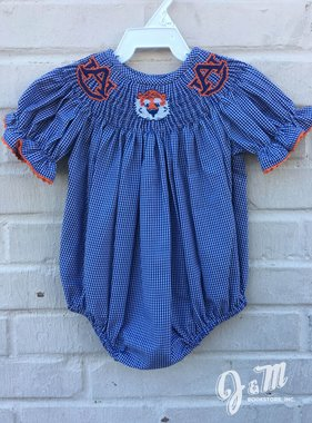 AU Aubie Head Smocked Bubble Onesie