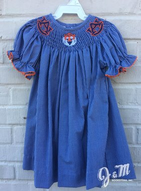 AU Aubie Head Smocked Bishop Dress