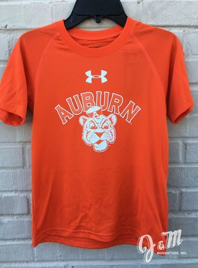 Under Armour Arch Auburn Vintage Aubie Head White Print Youth T-Shirt