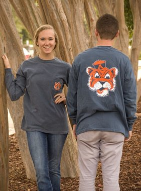 MV Sport Vintage Aubie Head Long Sleeve Pocket T-Shirt
