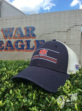 The Game AU Three Bar Auburn University Navy Front and Stone Mesh Hat