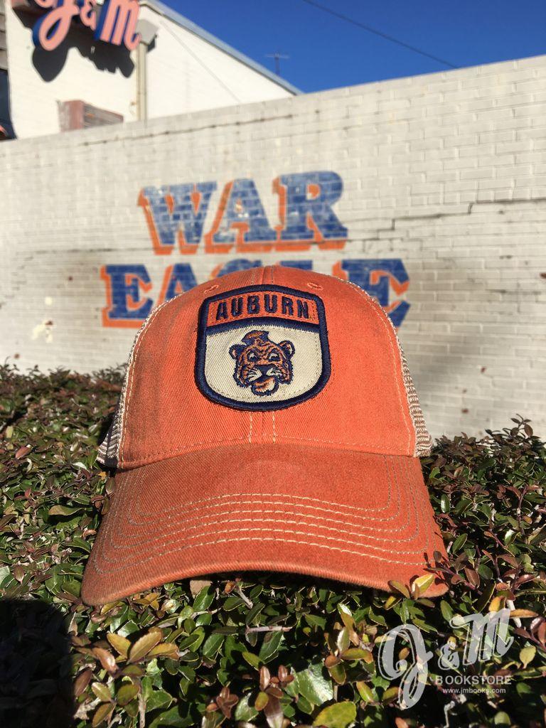 Auburn over Vintage Aubie Patch Mesh Hat, Orange