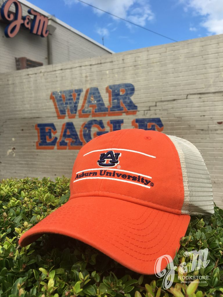 The Game AU Three Bar Auburn University Orange Front with Stone Mesh Hat