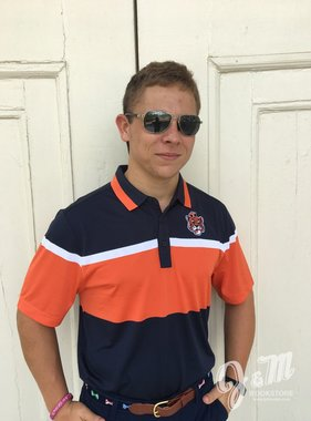 Cutter & Buck Everson Stripe Polo with Vintage Aubie