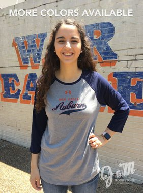 Under Armour War Eagle Script Auburn Ladies Raglan T-Shirt