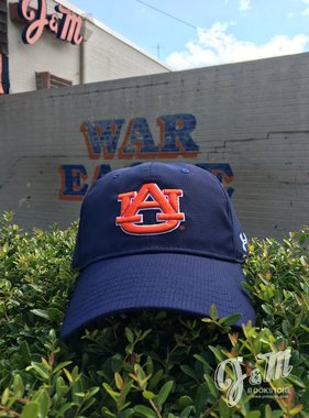 Under Armour UA Free Fit Navy AU Hat - Breathable Material - Arch Auburn on Back