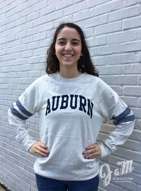 MV Sport Distressed Arch Auburn Striped Long Sleeve T-Shirt