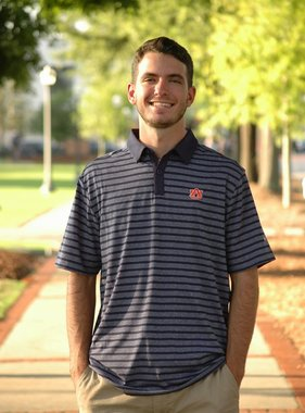 AU Heather Navy with Navy Stripe Polo