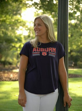 Under Armour Ladies Block Auburn AU Key Hole T-Shirt