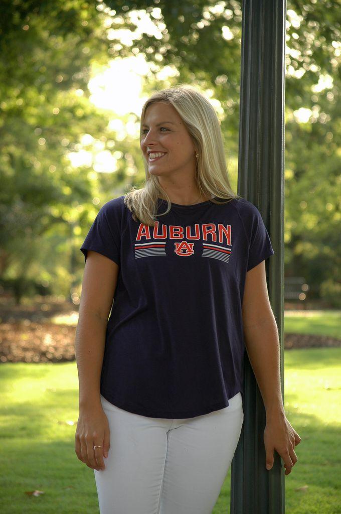 Under Armour Ladies Block Auburn AU Key Hole T-Shirt