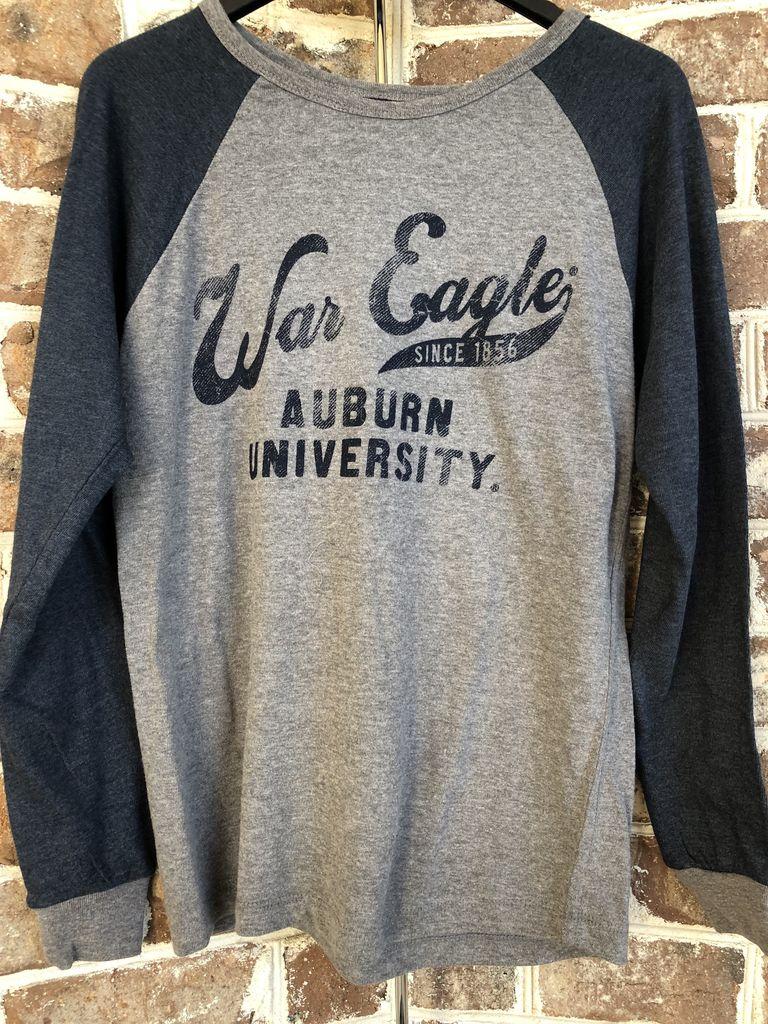 MV Sport Vintage Print War Eagle 1856 Two Tone Long Sleeve T-Shirt