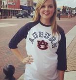 League Arch Auburn AU 3/4 sleeve two tone baseball t-shirt
