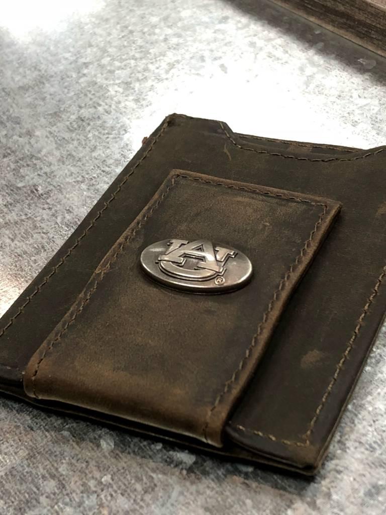 Light Brown Crazy Horse Front Pocket Wallet - Auburn