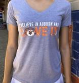 Aubie Love It Ladies V-Neck T-Shirt